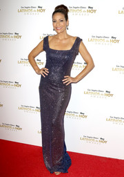 Constance Marie got all sparkled up in a micro-beaded blue gown for the 2016 Latinos de Hoy Awards.