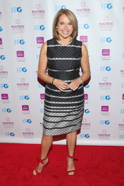 Katie Couric kept it chic in a black and gray scallop-print dress at the 2016 Matrix Awards.
