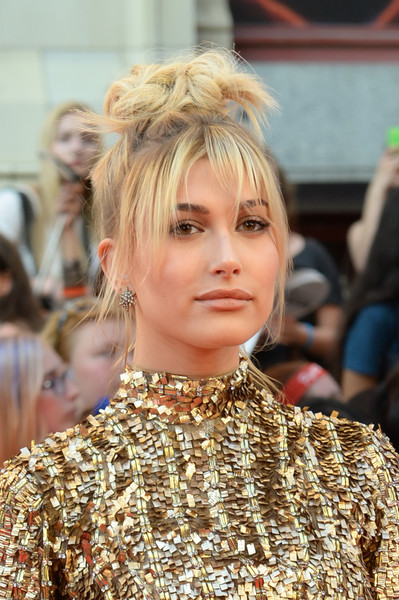 Hailey Baldwin's Messy Top Knot