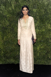 Rachel Roy went for exotic elegance at the 2016 MoMA Film Benefit in a champagne-hued tunic dress with tonal embroidery.