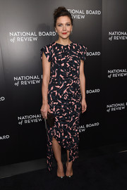 Maggie Gyllenhaal opted for a Marni print dress with an asymmetrical hem for her National Board of Review Gala look.