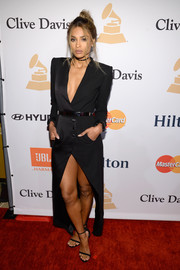 Ciara chose a sleek and sexy black tux dress by Ronald van der Kemp for the Pre-Grammy Gala.