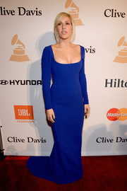 Ellie Goulding went for simple sophistication in a cobalt square-neck column dress at the Pre-Grammy Gala.