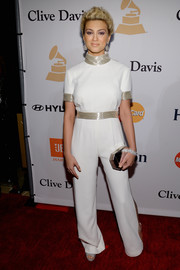 Tori Kelly went for space-age glamour in this beaded white Monique Lhuillier jumpsuit during the Pre-Grammy Gala.