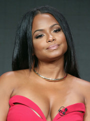 Christina Milian complemented her strapless outfit with a chic gold necklace.