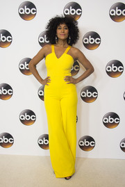 Tracee Ellis Ross easily stood out in this canary-yellow halter jumpsuit by SAFiYAA at the Disney ABC Summer TCA Tour.