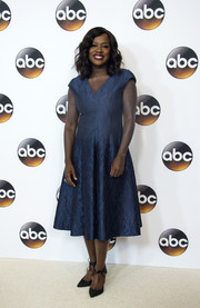 Viola Davis kept it ladylike in this textured blue cocktail dress at the Disney ABC Summer TCA Tour.