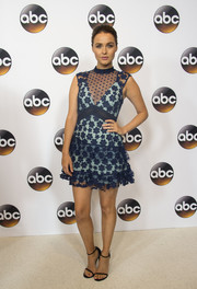 Camilla Luddington looked darling in a blue floral lace dress by Self-Portrait at the Disney ABC Summer TCA Tour.