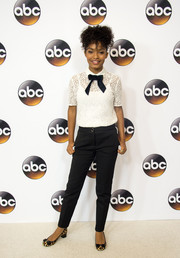 Yara Shahidi styled her casual look with block-heeled leopard-print pumps.