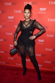 Nicki Minaj brought a heavy dose of sex appeal to the Time 100 Gala with this sheer black lace dress by Givenchy.