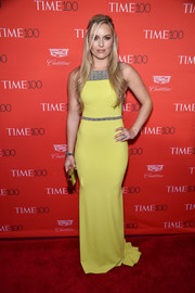 Lindsey Vonn chose a form-fitting yellow gown with an embellished yoke and waist for her Time 100 Gala look.