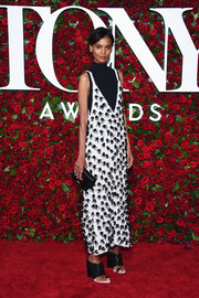 Liya Kebede stood out in an appliqued white dress layered over a turtleneck at the 2016 Tony Awards.