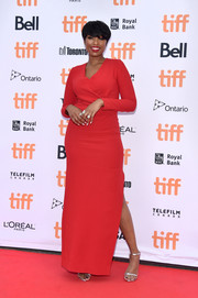Jennifer Hudson kept it classy in a long-sleeve red column dress by Lanvin at the TIFF premiere of 'Sing.'