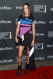 Jennifer Connelly rocked a colorful Louis Vuitton print dress with a side mullet at the TIFF/InStyle/HFPA party.