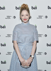 Judy Greer paired a monochrome mother-of-pearl clutch with a striped dress for the Tribeca Film Fest after-party for 'All We Had.'