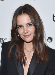 Katie Holmes wore her hair in a center-parted style with barely-there waves during the Tribeca Film Fest after-party for 'All We Had.'