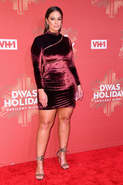 Two-tone Gianvito Rossi sandals with lace-up ankle cuffs finished off Ashley Graham's look.