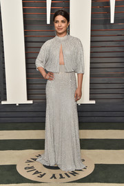Priyanka Chopra worked the cutout trend so elegantly with this crystal-embellished silver gown by Jenny Packham at the Vanity Fair Oscar party.