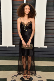 Thandie Newton looked sensual in a lacy lingerie-inspired gown while attending the Vanity Fair Oscar party.