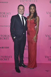 Jasmine Tookes sheathed her svelte figure in a red corset gown by Gucci for the Victoria's Secret fashion show after-party.