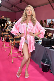 Lily Donaldson struck a sexy pose wearing a partially open pink robe prior to the Victoria's Secret fashion show.