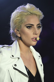 Lady Gaga sported a mussed-up hairstyle while performing at the Victoria's Secret fashion show.