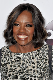 Viola Davis framed her face with a short wavy hairstyle for the 2016 Winter TCA Tour.