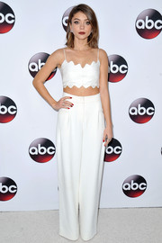 Sarah Hyland wore high-waisted pants to match her crop top.