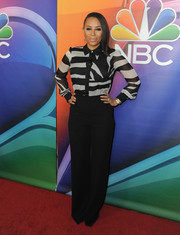Melanie Brown was smart and classic in a black-and-white striped blouse during the NBCUniversal Press Tour.