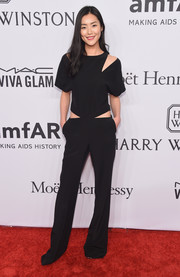 Liu Wen stood out in her black Prabal Gurung cutout jumpsuit at the amfAR New York Gala.