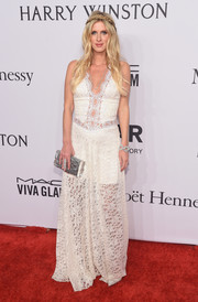 Nicky Hilton was a boho babe at the amfAR New York Gala in a white lace maxi dress.