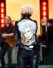 A leather jacket printed with Billy Idol's face--what an apt tribute to the rock icon!
