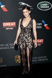 Kate Mara looked alluring in a fitted black lace gown by Burberry at the 2017 AMD British Academy Britannia Awards.