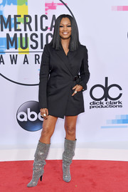 Garcelle Beauvais gave her look a dose of sparkle with a pair of bedazzled boots by Saint Laurent.