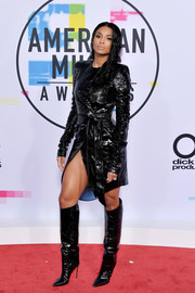 Ciara looked quite the glamazon in a belted black python dress by Alexandre Vauthier Couture at the 2017 American Music Awards.