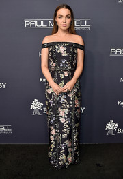 Camilla Luddington went ladylike in a floral off-the-shoulder gown by Cristahlea at the 2017 Baby2Baby Gala.