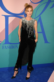 Erin Wasson was rockstar-chic in a sequin-drip velvet top by Monse at the 2017 CFDA Fashion Awards.