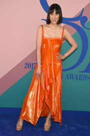 Eva Chen was summer-chic in an orange ruffle maxi dress by Sies Marjan at the 2017 CFDA Fashion Awards.