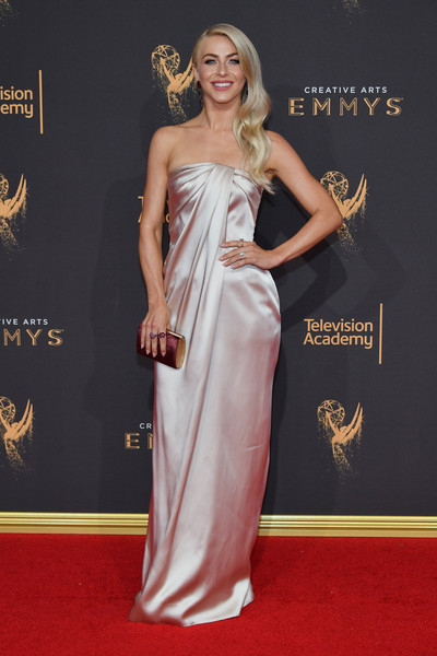 More Pics of Julianne Hough Tube Clutch (1 of 16) - Tube Clutch Lookbook - StyleBistro [red carpet,dress,clothing,carpet,shoulder,gown,fashion model,fashion,hairstyle,flooring,arrivals,julianne hough,los angeles,california,microsoft theater,creative arts emmy awards]