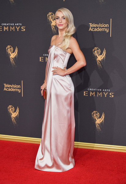 More Pics of Julianne Hough Tube Clutch (9 of 16) - Tube Clutch Lookbook - StyleBistro [red carpet,carpet,clothing,dress,gown,flooring,fashion,hairstyle,premiere,formal wear,arrivals,julianne hough,los angeles,california,microsoft theater,creative arts emmy awards]