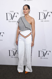 Tracee Ellis Ross was modern-chic in a striped one-shoulder top by Diane von Furstenberg at the 2017 DVF Awards.