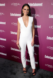 Jordana Brewster kept it minimal in a white V-neck jumpsuit by Monique Lhuillier at the Entertainment Weekly pre-Emmy party.