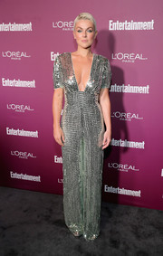 Serinda Swan went for high shine in a fully sequined jumpsuit by Temperley London at the Entertainment Weekly pre-Emmy party.