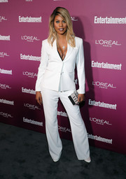 Laverne Cox opted for this white Sharpe Suiting jacket and trousers combo for her Entertainment Weekly pre-Emmy party look.
