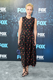 Gillian Anderson looked adorable in a floral-embroidered midi dress by Simone Rocha at the 2017 Fox Upfront.