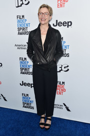 Annette Bening went tough in a black leather jacket at the 2017 Film Independent Spirit Awards nominees brunch.