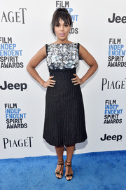 Kerry Washington amped up the sweetness with a pair of bow-adorned T-strap sandals by Christian Louboutin.