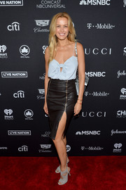 Petra Nemcova paired her top with a black leather pencil skirt for an edgy-sexy finish.