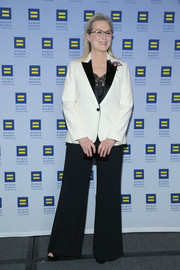 Meryl Streep suited up in a black jacket with contrast lapels for the 2017 Human Rights Campaign Greater New York Gala.