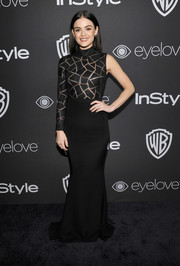 Lucy Hale went the modern route in a black Christian Siriano one-sleeve gown at the InStyle and Warner Bros. Golden Globes post-party.